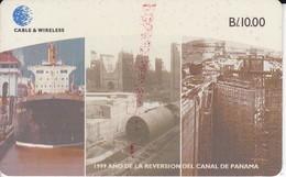 TARJETA DE PANAMA DE CABLE & WIRELESS DE B/10.00 DEL CANAL DE PANAMA (BARCO-SHIP) - Panamá