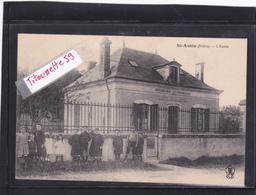 """36-SAINT-AUBIN-(INDRE)-L'ECOLE- ENFANTS Devant La GRILLE-Animation-""""Ecole Comunale- République Française....""""Ecrite 1914 - France"""