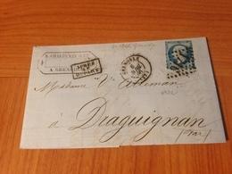 GRENOBLE GC 1716 -  Lettre écrite 1866 AVEC CACHET AMBULANT AU DOS LYON A MARSEILLE  ( Port à Ma Charge) - 1849-1876: Klassieke Periode