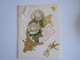 Felicitaties Huwelijk Felicitations De Mariage Carte Double Fleurs Rozen Roses Decoupis Hirondelle  11 X 14 Cm - Autres