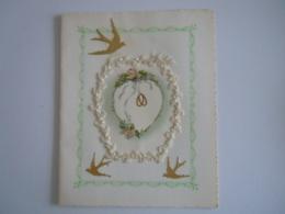 Felicitaties Huwelijk Felicitations De Mariage Carte Double Guirlande Zwaluw Hirondelle Roses Rozen  12 X 14,8 Cm - Autres