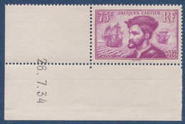 N°__296 JACQUES CARTIER TIMBRES NEUFS ** 1934 - France