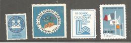 1952 / 1968 :4 Vignettes Officielles Des Jeux Olympiques D'Hiver: Oslo , Cortina , Lake-Placid Et Grenoble - Winter 1952: Oslo