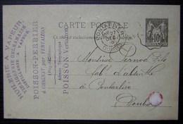 Chignat Par Vertaizon 1895 Poisson Perrier Huilerie à Vapeur Vinaigrerie Orléanaise, Carte Entier Postal Pour Pontarlier - Marcophilie (Lettres)