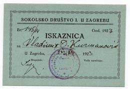 1923 YUGOSLAVIA, CROATIA, ZAGREB, SOKOL, MEMBERSHIP CARD - Historical Documents