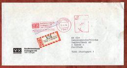 Einschreiben Reco, Absenderfreistempel, Raiffeisenbank Unlingen, 330 Pfg, 1984 (78364) - BRD