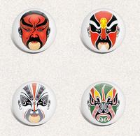125 X Peking Opera Mask Beijing Opera Facial Masks BADGE BUTTON PIN SET  (1inch/25mm Diameter) - Musique