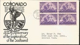 J) 1940 UNITED STATES, CORONADO, 400tH ANNIVERSARY OF THE EXPLORATION OF THE SOUTHWEST, HORSE, BLOCK OF 4, FDC - Etats-Unis