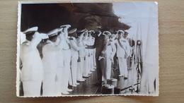 MARINA MILITARE ITALIANA 1935 FOTO A BORDO NAVE BANDE NERE CON UFFICIALI E REALE DUCA D'AOSTA? - Altri