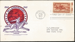 J) 1940 UNITED STATES, 80th ANNIVERSARY OF THE FIRST PONY EXPRESS MAIL SERVICE, SACRAMENTO CALIFORNIA, HORSE, CIRCULATED - Covers & Documents