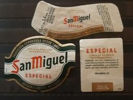 LOTE DE 3 ETIQUETAS CERVEZA SAN MIGUEL ESPECIAL. - Cerveza