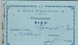 JOLI CARNET DE 17 TEMOIGNAGES BIEN ET TRES BIEN 1952 /MARSEILLE ECOLE TIMON DAVID - Diploma & School Reports