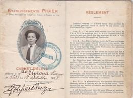 CARNET D ELEVE ETABLISSEMENTS PIGIER  / MARSEILLE 1938 - Diplômes & Bulletins Scolaires