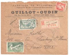 ROMILLY Aude Lettre Recommandée Entête Bonneterie Guillot Odin 10c Olympiade 30c Pasteur 45c Merson Défaut Yv 143 183 17 - Briefe U. Dokumente