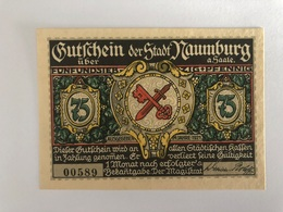 Allemagne Notgeld Naumburg 75 Pfennig - Collections