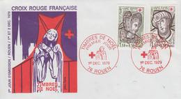 Enveloppe   FDC   1er  Jour   FRANCE     Paire   CROIX  ROUGE     ROUEN   1979 - 1970-1979