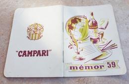 CAMPARI - MENOR 1959 L'aide Mémoire * Concessionnaire Pour La France SOVAL - Alcools