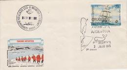 Polaire Argentin, Lettre Obl 1° Croisiére Touristique Le 3 ENE 75 Sur N° 956 (voilier) + Base Almirante Brown 4 ENE 75 - Argentina