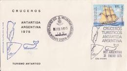 Polaire Argentin, Lettre Obl 4° Croisiére Touristique Le 31 ENE 75 Sur N° 986 (voilier) + Base Almirante Brown 6 FEB 75 - Storia Postale