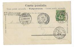 Suisse Cachet Ambulant N°18 Et Marque St-Ursanne Du 21 Juin 1901 - Marcophilie