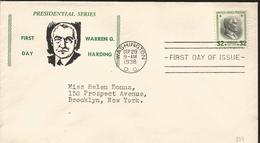 J) 1938 UNITED STATES, PRESIDENTIAL SERIES, WARREN G HARDING, FDC - United States