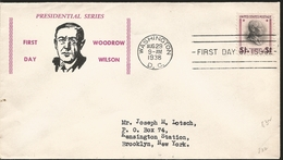 J) 1938 UNITED STATES, PRESIDENTIAL SERIES, WOODROW WILSON, FDC - United States