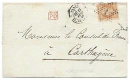 N°23 ORANGE NAPOLEON SUR LETTRE / PARIS POUR CARTHAGENE / 17 FEV 1866 / BONNE DESTINATION - Marcophilie (Lettres)