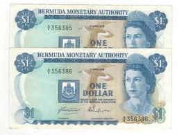 Bermuda, 1 Dollar 1978 X2 Consec. #. XF Pair - Bermudas