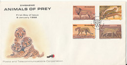 Zimbabwe FDC 8-1-1992 Zimbabwe Animals Of Prey Complete Set Of 4 With Cachet - Zimbabwe (1980-...)