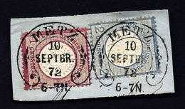 ALB-  TIMBRES EMPIRE ALLEMAND OCCUPATION ALS. LORR.- TIMBRE N° 16 ET N°5- TAMPON FER A CHEVAL TYPE K -1872 - Allemagne