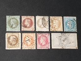 Napoléon III N° 25 à 33  Avec Oblitération D'Epoque à -5% De Le Cote  Deuxième Choix - 1863-1870 Napoléon III Con Laureles