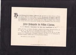 1901 Alfred  Reichsgrafen Des Enffans D'Avernas  1901 66 Ans De GHYFFEGNIES  GHYSSEGNIES - Décès