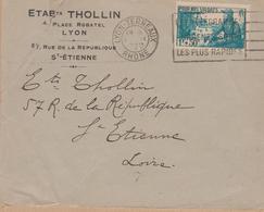 ENVELOPPE TIMBRE  MARSOUIN ET VILLAGE AFRICAIN LYON TERREAUX - Marcophilie (Lettres)