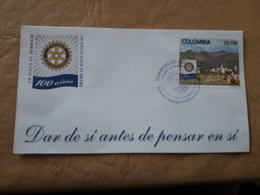 Colombie Fdc 100 Ans Du Rotary - Rotary, Club Leones