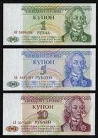 TRANSNISTRIA - 1+5+10 Rubles 1994 {Banka Nistryane} UNC P.16+17+18 - Moldova