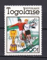 TOGO 1982 - CAMPEONATO DEL MUNDO DE FUTBOL ESPAÑA'82 - YVERT 1012** (SOBRECARGADO) - Togo (1960-...)
