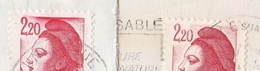 LIBERTÉ 2.20f. ROUGE - 2376 Type I CADRE SUPÉRIEUR EFFACE + 2376a Type II CADRE SUPÉRIEUR TOUCHANT LE BONNET - 1982-90 Liberty Of Gandon
