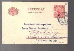 1917 Private Printed Albert Bonnier > Birger Lindberg Kota Radja Sumatra Netherlands Indies (220) - Postwaardestukken