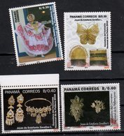 PANAMA , 2018, MNH, CULTURE, JEWELLERY OF ESTEFANIA ZEVALLOS, COSTUMES, EAR RINGS, BROOCHES, BUTTERFLIES, 4v - Costumes