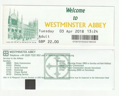 TICKET - ENTRADA / WESTMINSTER ABBEY - 2018 - Tickets - Entradas