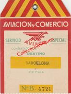 "Billet De Transport De Bagages Aviaco à Destination De Barcelone Année 1954 ""Aviacion Y Comercio"" - Europe"