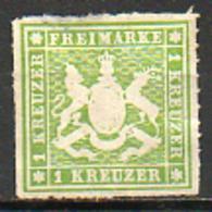 ALLEMAGNE - WURTEMBERG (Royaume) - 1866 - N° 30 - 1 Kreuzer Vert Jaune - Wurtemberg