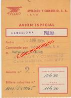 Billet De Transport Par Avion - Avril 1954 De Barcelone à Palma Par Aviaco - Aviacion Y Comercio - Europe