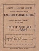LIVRET DE SOCIÉTAIRE / L ALLIANCE DES TRAVAILLEURS / SIÈGE SOCIAL VILLE DE BREST / AVEC TIMBRE FISCAL / 1927 - Documentos Antiguos