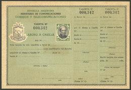 ARGENTINA: GJ.AAC-26, 1954/60 PO Box Payment 40P. (De Luca) , Mint, Complete With Slip, Excellent Quality, Rare! - Interi Postali