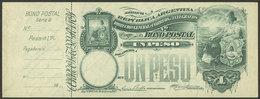 ARGENTINA: Postal Money Order GJ.BOP- 2, 1902 Seated Liberty 1P., Unused, Complete With Slip, Excellent Quality, Rare! - Interi Postali