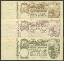 ARGENTINA: Rare Postal Money Orders GJ.BOP-3 + 4 + 7, 1902 Seated Liberty 2P., 3P. And 10P., With Perforation ANULADO (s - Interi Postali
