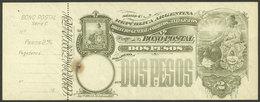 ARGENTINA: Postal Money Order GJ.BOP- 10, 1904 Seated Liberty 2P., Unused, With Complete Slip, Small Defect, Rare! - Interi Postali