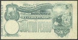 ARGENTINA: Postal Money Order GJ.BOP- 12, 1904 Seated Liberty 4P., Unused, Without Slip, VF Quality, Rare! - Interi Postali