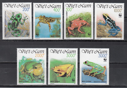 Vietnam, 1989  Yvert Nº 1223 / 1229  MNH,Rana Arbórea De Ojos Rojos, Rana De Campana Dorada , Mantella Dorada, Etc. - Frogs